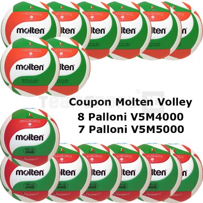 Pallone Volley Molten 8-V5M4000 + 7-V5M5000 Conf. 15 palloni + 2 Spray + 1 Gel + 15 Mask