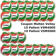Pallone Volley Molten 15-V5M4000 + 10-V5M5000 Conf. 25 palloni + 2 Spray + 2 Gel + 25 Mask