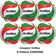 Pallone Volley Molten V5M5000 Coupon 2020 - Conf. 6 palloni + 2 Spray + 6 Mask