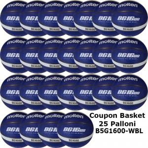 Pallone Mini Basket Molten B5G1600-WBL Coupon 2019 - Conf. 25 palloni