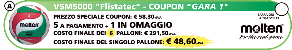 Coupon 6 Palloni Volley Molten V5M5000